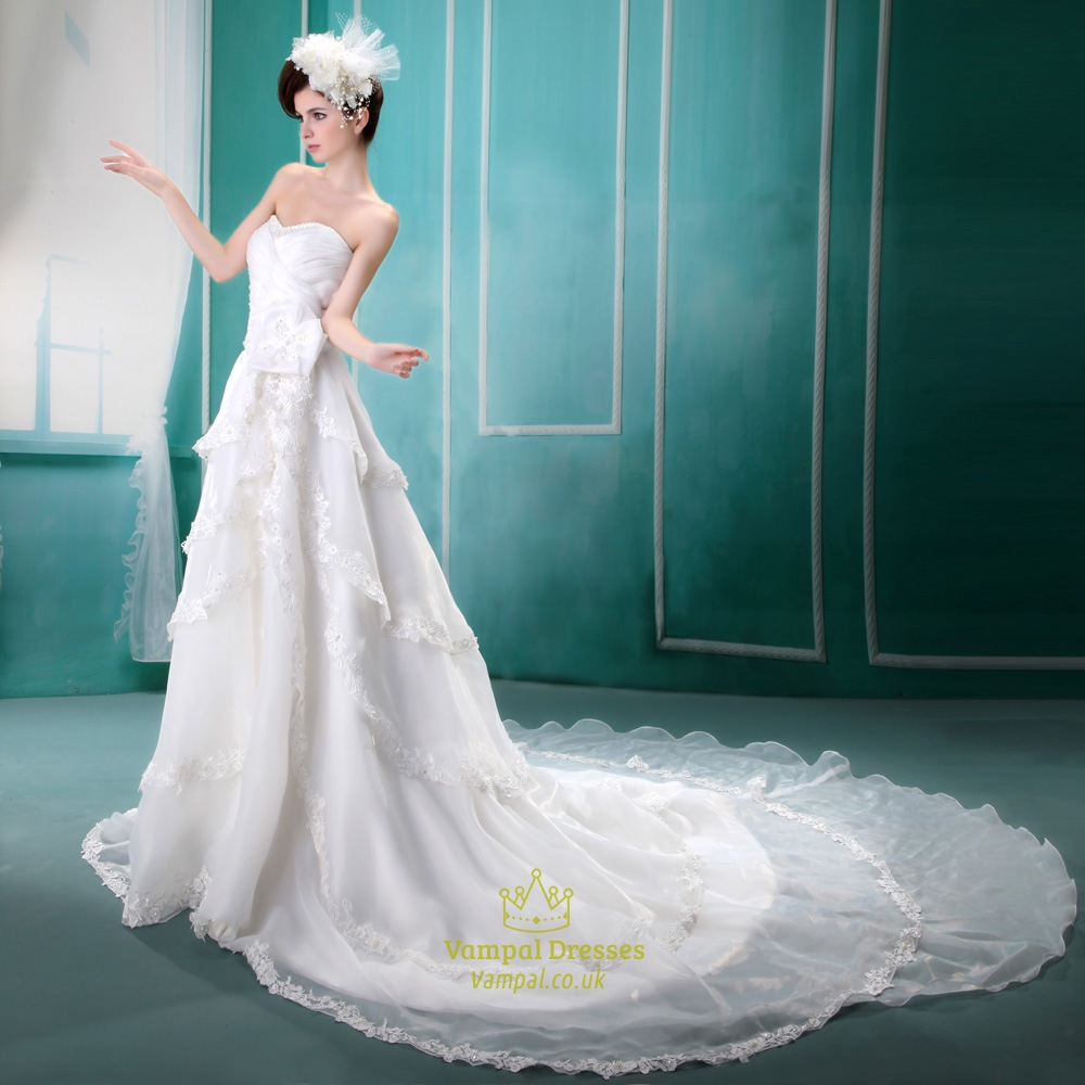 Organza Gathered Wedding Dress With Beaded Lace White