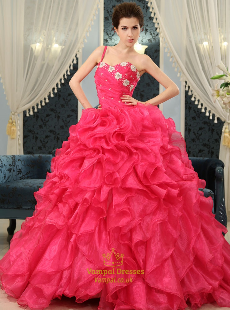 Ball Gown Ruffle Wedding Dress, Hot Pink Sweet 16 Dress, Organza ...