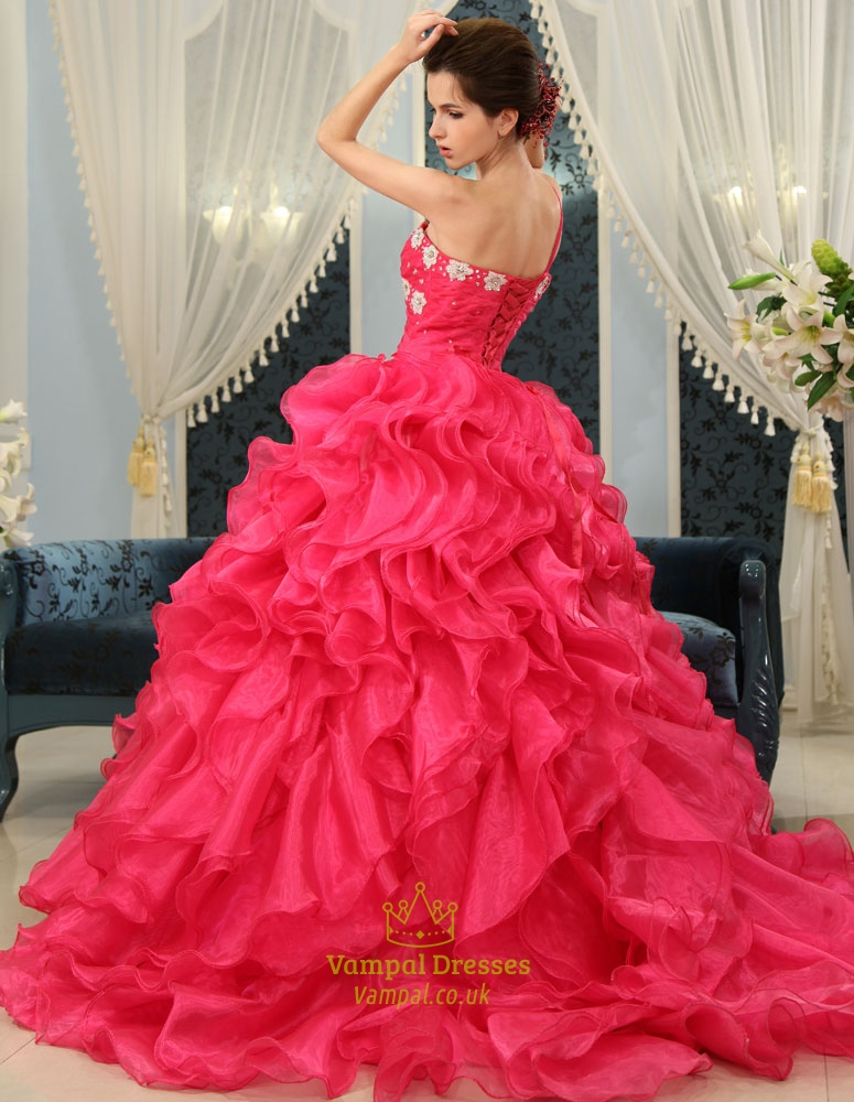 Ball gown ruffle wedding dress hot pink sweet 16 dress for Pink ruffle wedding dress