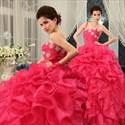 Ball Gown Ruffle Wedding Dress, Hot Pink Sweet 16 Dress, Organza Dress