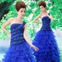Royal Blue One Shoulder Prom Dress, One Shoulder Sweet 16 Dresses