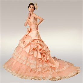 Pretty In Pink Sweet 16 Dresses, Layered Ball Gown Wedding Dress