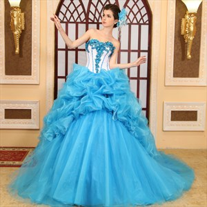 Aqua Blue Sweet 16 Dresses, Blue Organza Rose Corsage Ball Gown