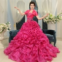 Hot Pink Ball Gown Prom Dresses, Sweetheart Beaded Organza Prom Dress