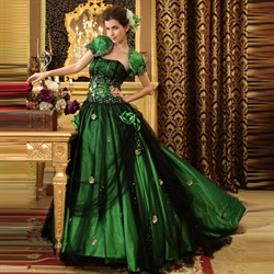Green And Black Ball Gown, Green Ball Gowns For Prom, Sweet 16 Dresses