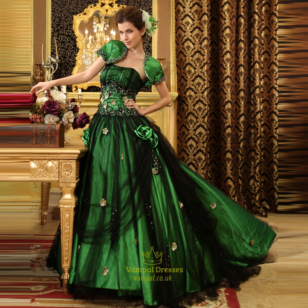 Green And Black Ball Gown, Green Ball Gowns For Prom, Sweet 16 ...