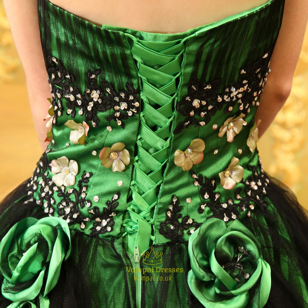 Green And Black Ball Gown Green Ball Gowns For Prom Sweet 16