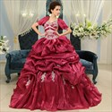 Burgundy Sweet 16 Dresses, Colorful Crystal Organza Quinceanera Dress
