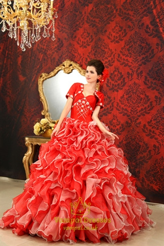 red and white ball gown wedding dress red and white sweet