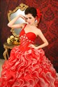 Red And White Ball Gown Wedding Dress, Red And White Sweet 16 Dresses