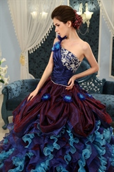 Colorful Crystal Organza Quinceanera Dress,One Shoulder Sweet 16 Dress