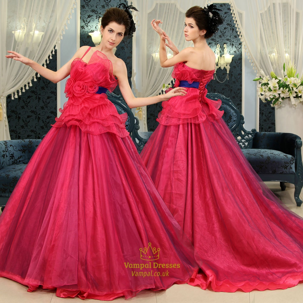 One Shoulder Tulle Ball Gown, Hot Pink Sweet 16 Dress, Prom Ball ...