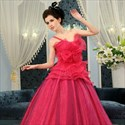 One Shoulder Tulle Ball Gown, Hot Pink Sweet 16 Dress, Prom Ball Gowns