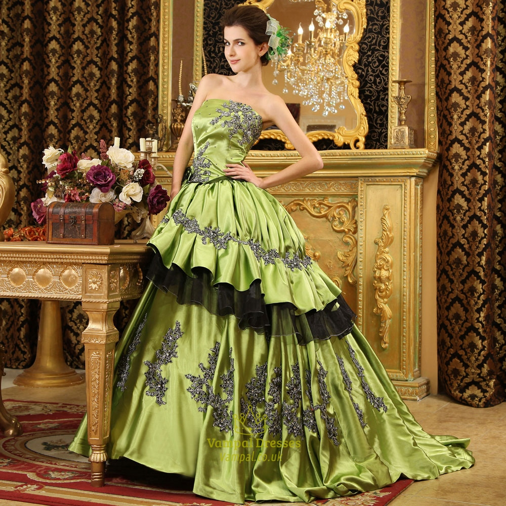 Satin Ball Gown With Appliques And Tulle Underlay, Olive Ball Gowns ...