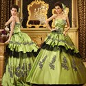 Satin Ball Gown With Appliques And Tulle Underlay, Olive Ball Gowns
