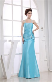 Aqua Blue Mermaid Prom Dress, Taffeta Bridesmaid Dresses With Straps