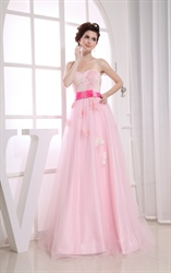 Pink Princess Sweetheart Floor-Length Dress, Pink Formal Evening Dress