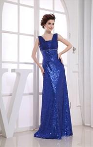 Royal Blue Sequin Prom Dress, Floor Length Empire Waist Prom Dresses