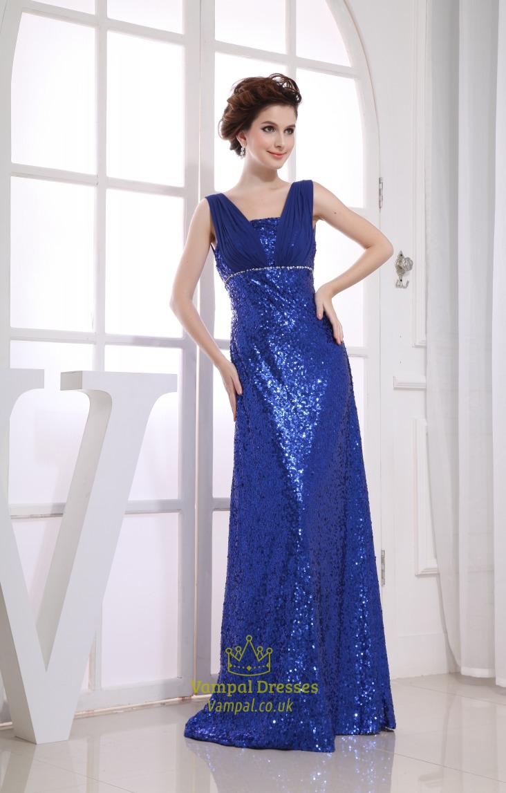 Royal Blue Sequin Prom Dress, Floor Length Empire Waist Prom Dresses ...