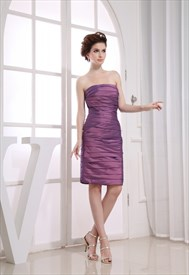 Knee Length Purple Cocktail Dresses, Short Ruched Homecoming Dresses