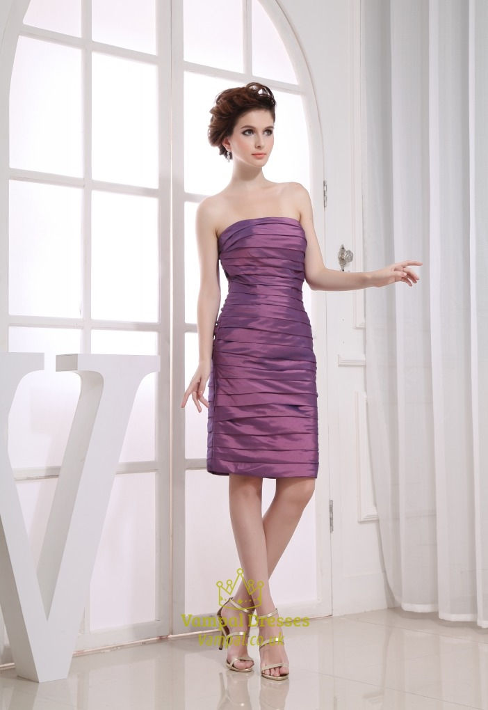 Knee Length Purple Cocktail Dresses Short Ruched