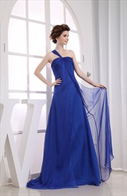 One Shoulder Empire Waist Prom Dress, Royal Blue Chiffon Prom Dresses