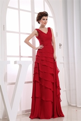 Long Red Chiffon Prom Dress, Layered Chiffon Evening Dress, Prom Gowns