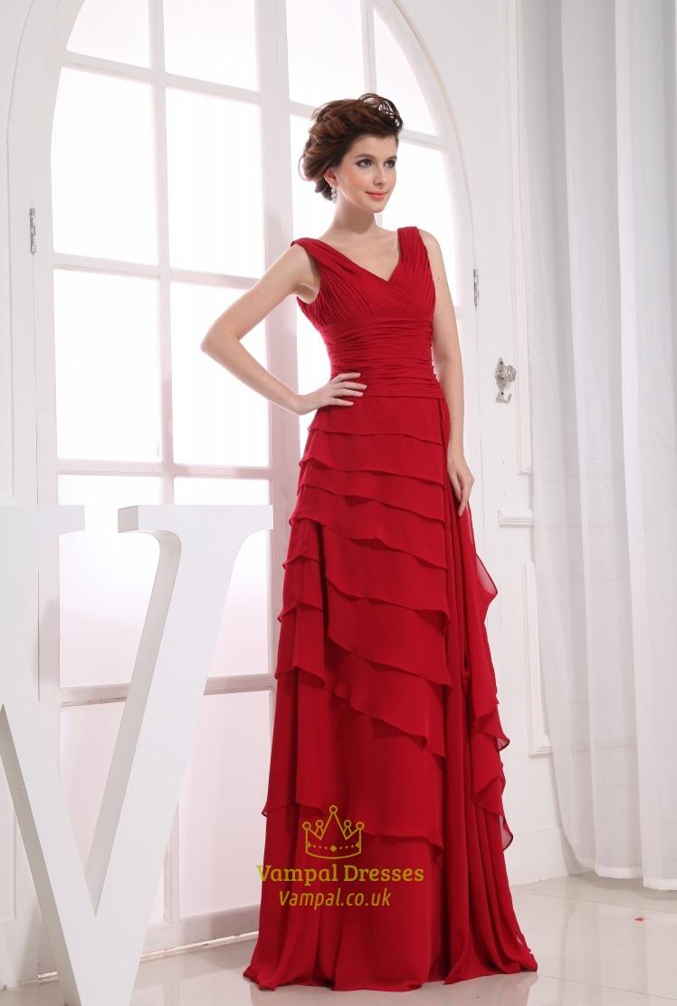 Long Red Chiffon Prom Dress, Layered Chiffon Evening Dress, Prom ...