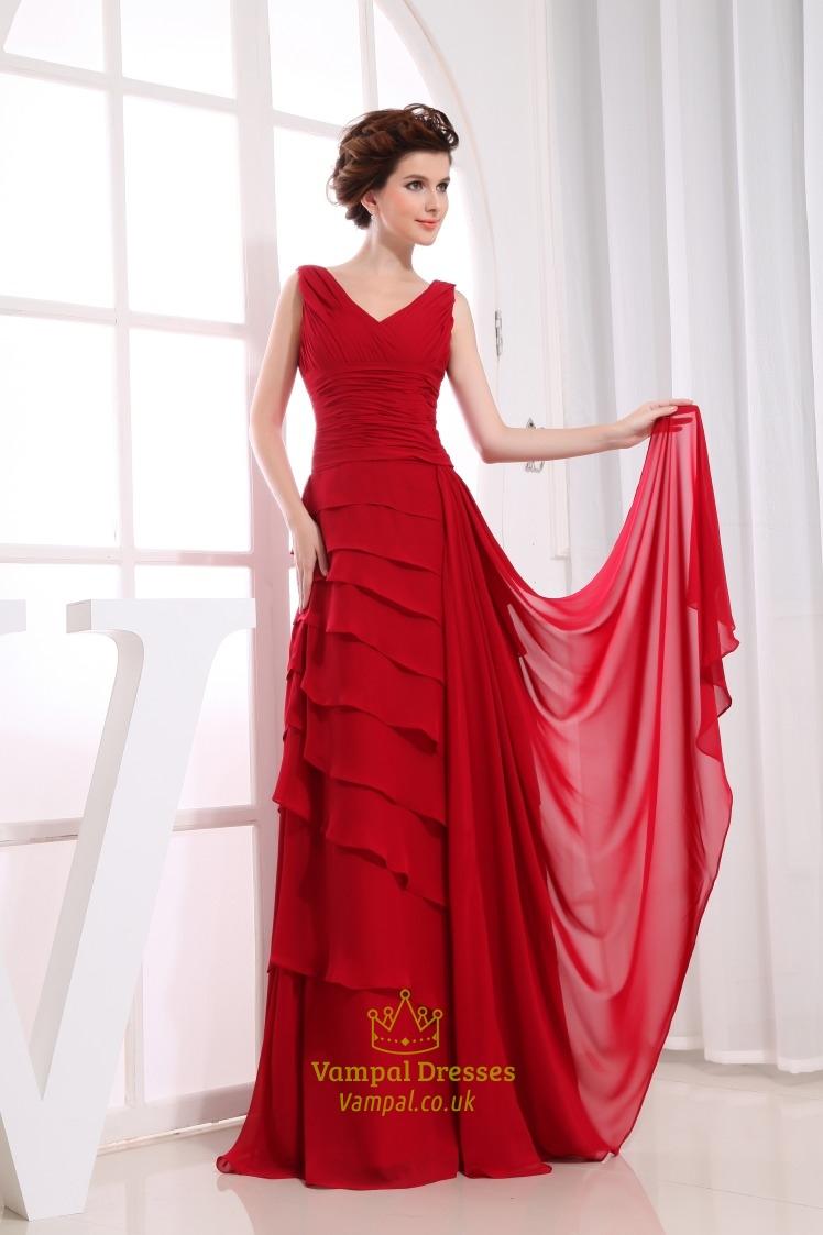 Long Red Chiffon Prom Dress, Layered Chiffon Evening Dress ...
