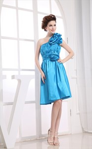 One Shoulder Knee Length Cocktail Dress, Short Prom Dress With Flowers