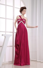 Elegant One Shoulder Empire Waist Gown, Long One Shoulder Prom Dresses