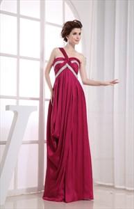Elegant One Shoulder Empire Waist Gown, Long One Shoulder Prom Dresses
