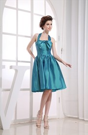 Teal Green Cocktail Dresses, Halter Short Homecoming Dress, Party Gown