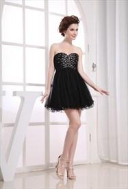 Short Black Strapless Dress Empire Waist, Short Black Dresses For Prom