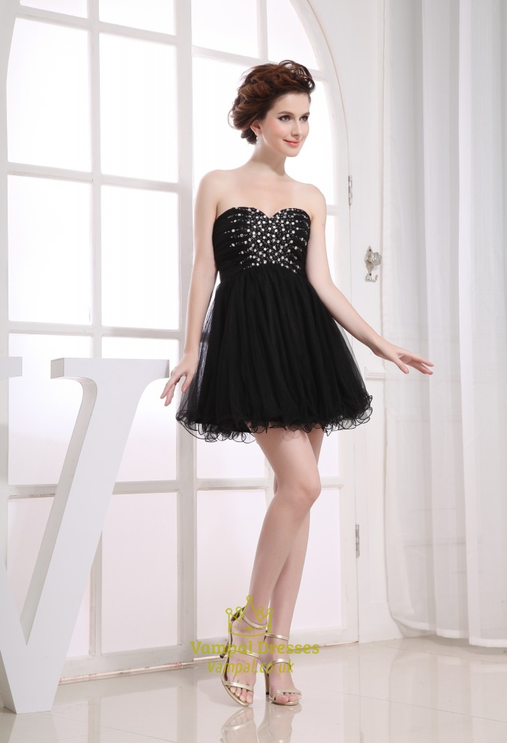 Short Black Strapless Dress Empire Waist Short Black Dresses For