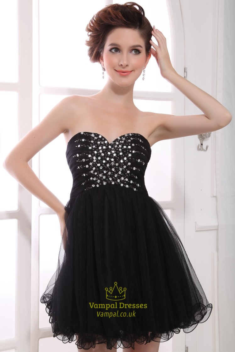 Short Black Strapless Dress Empire Waist Short Black