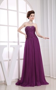 Chiffon A-Line Floor-Length Evening Dress, Strapless Purple Prom Dress