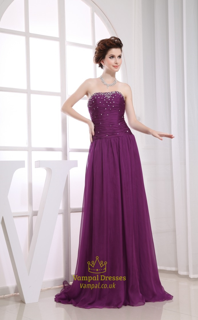 Chiffon A-Line Floor-Length Evening Dress, Strapless Purple Prom ...