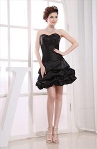 Black Bubble Cocktail Dress, Simple Strapless Little Black Dress