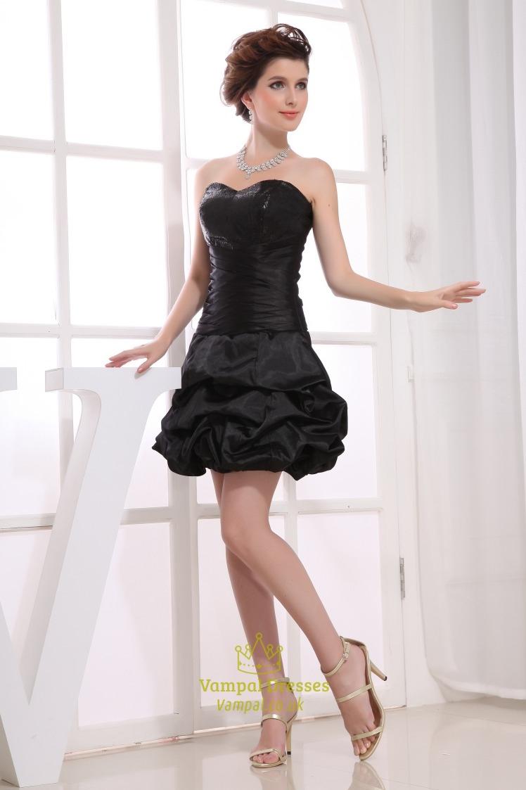 Black Bubble Cocktail Dress Simple Strapless Little Black