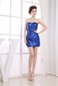 Royal Blue Sequin Party Dress, Short Tight Sequin Homecoming Dresses