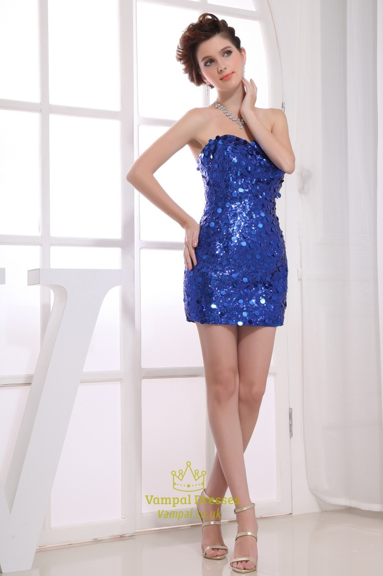 Royal Blue Sequin Party Dress, Short Tight Sequin Homecoming Dresses ...