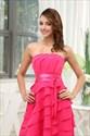 Short Empire Waist Layered Ruffle Dress, Chiffon Strapless Short Dress