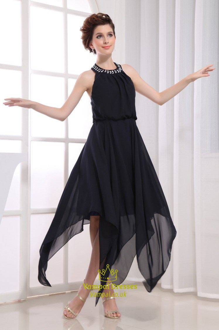 Chiffon Tea Length Bridesmaid Dress Short Navy Blue Homecoming Dress