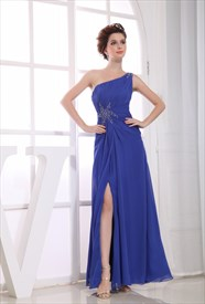 Royal Blue One Shoulder Evening Dress, Chiffon One Shoulder Prom Dress