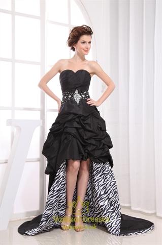 Black Strapless Sweetheart High Low Dress Black High Low