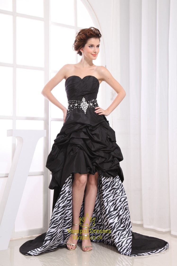 Black Strapless Sweetheart High Low Dress, Black High Low Prom ...