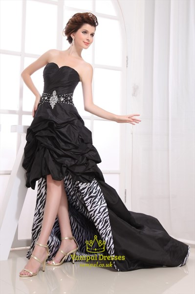 Black Strapless Sweetheart High Low Dress, Black High Low Prom Dresses