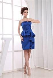 Short Ruched Sapphire Blue Dress, Sapphire Blue Strapless Prom Dress