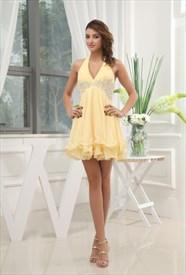 Yellow Halter Homecoming Dresses, Empire Waist Short Cocktail Dress